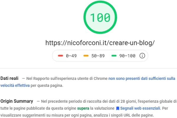 Creare un blog page speed insights